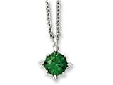 Chisel Stainless Steel Green CZ Pendant 18in Necklace style: SRN101718