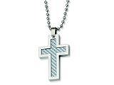 <b>Engravable</b> Chisel Stainless Steel Grey Carbon Fiber Cross Necklace - 22 inches style: SRN101