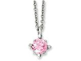Chisel Stainless Steel Pink CZ Pendant 18in Necklace style: SRN102018
