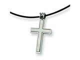 Chisel Stainless Steel Leather Cord Cross Necklace - 18 inches style: SRN102