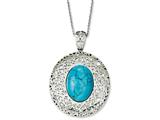 Chisel Stainless Steel Simulated Turquoise Pendant Necklace style: SRN103118