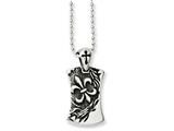 Chisel Stainless Steel Antiqued Fleur De Lis Dog Tag 22in Necklace style: SRN103822