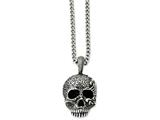 Chisel Stainless Steel Antiqued and Textured Skull 24in Necklace style: SRN104224