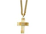 Chisel Stainless Steel Gold Ip-plated Cross Pendant Necklace style: SRN105GP24