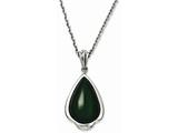 Chisel Stainless Steel Simulated Green Cats Eye Teardrop 20in Necklace style: SRN106020