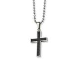 Chisel Stainless Steel Carbon Fiber Cross Necklace style: SRN10822