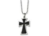 Chisel Stainless Steel Carbon Fiber Cross Necklace style: SRN11022