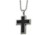 Chisel Stainless Steel Carbon Fiber Cross Necklace style: SRN11222