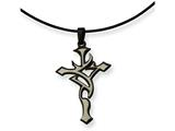 Chisel Stainless Steel Black Plated And Grey Accent Cross Necklace style: SRN11418