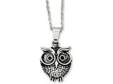 Chisel Stainless Steel Antiqued Owl Necklace style: SRN117120
