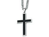 <b>Engravable</b> Chisel Stainless Steel Carbon Fiber Cross Necklace - 24 inches style: SRN118