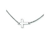 Stainless Steel Polished Sideways Cross Necklace style: SRN1209
