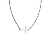Stainless Steel Polished Sideways Cross Necklace style: SRN1211