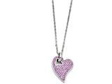 Chisel Stainless Steel Polished Light Purple Crystal Heart Pendant Necklace style: SRN127418