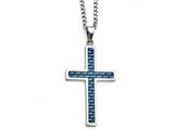<b>Engravable</b> Chisel Stainless Steel Blue Carbon Fiber Inlay Polished Large Cross Necklace style: SRN130222