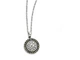 Chisel Stainless Steel CZ With Yellow Ip-plated Antiqued Circle Necklace style: SRN133718