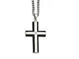 Chisel Stainless Steel Brushed And Polished Black Ip-plated Cross With CZ  Necklace style: SRN134722
