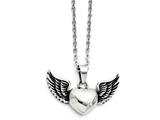 Chisel Stainless Steel Antiqued And Polished Heart With Wings Necklace style: SRN135318