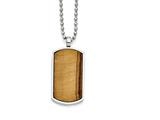 "Chisel Stainless Steel Tiger""s Eye Dog Tag Pendant Necklace style: SRN136222"