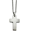 Chisel Stainless Steel Brushed Cross Necklace style: SRN136620