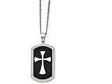 <b>Engravable</b> Chisel Stainless Steel Black Ip-plated Polished Dog Tag Cross With CZ Necklace style: SRN136722