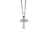 Chisel Stainless Steel Brushed And Polished Cross With CZ Necklace style: SRN136822