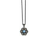 Chisel Stainless Steel Simulated Turquoise/marcasite Antiqued Necklace style: SRN137318