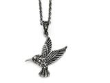 Chisel Stainless Steel Marcasite And Antiqued Bird Necklace style: SRN138018