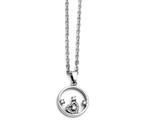 Chisel Stainless Steel Round With Heart Cz Polished Necklace style: SRN139018