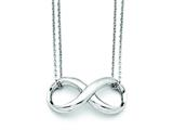 Stainless Steel Polished Two Strand Infinity Symbol Necklace style: SRN1408