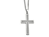 Chisel Stainless Steel Polished Grey Carbon Fiber Large Cross Necklace style: SRN141020