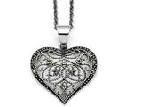 Chisel Stainless Steel Marcasite Textured Heart Necklace style: SRN142920