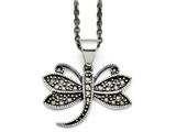 Chisel Stainless Steel Butterfly Marcasite Necklace style: SRN143018