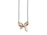 Chisel Stainless Steel Polished CZ Bow With 1.75in Ext. Necklace style: SRN145616