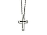 Chisel Stainless Steel Polished And Brushed Cut-out Cross Necklace style: SRN146820