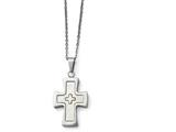 Chisel Stainless Steel Polished Mother Of Pearl Cross Necklace style: SRN147622