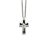 Chisel Stainless Steel Polished Black Ip-plated Crucifix Necklace style: SRN148320