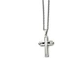 Chisel Stainless Steel Polished And Brushed Cross Necklace style: SRN148618