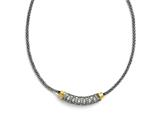 Chisel Stainless Steel Polished Yellow Pvd-plated CZ W/2in Ext. Necklace style: SRN150416