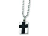 <b>Engravable</b> Chisel Stainless Steel Carbon Fiber Cross Necklace - 22 inches style: SRN152