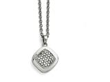 Chisel Stainless Steel Polished Cz Square W/2in Ext. Necklace style: SRN153018