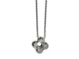 Chisel Stainless Steel Polished CZ Flower Necklace style: SRN15441725