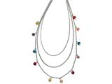 Chisel Stainless Steel Polished Multi Colored Agate 3-strand Necklace style: SRN156535