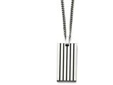 Chisel Stainless Steel Brushed Black Rubber Dog Tag Necklace style: SRN158022