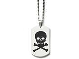 Chisel Stainless Steel Polished Black Enamel Skull Dog Tag Necklace style: SRN158122
