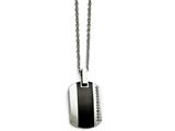 Chisel Stainless Steel Polished Black Ceramic Inlay Cz Small Necklace style: SRN158320