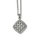 Chisel Stainless Steel Polished Clear And Pink CZ Square Necklace style: SRN158418