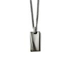 <b>Engravable</b> Chisel Stainless Steel Polished Black Ip-plated Rectangle Necklace style: SRN158722