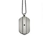 <b>Engravable</b> Chisel Stainless Steel Antiqued Brushed W/black CZ Necklace style: SRN159020