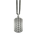 Chisel Stainless Steel Brushed W/black CZ Necklace style: SRN159222